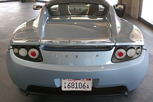 Rear view of a Tesla Roadster