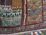 San vitale, ravenna, int., presbiterio, mosaici del catino con redentoretra arcangeli, s. vitale ed ecclesio, 06.JPG