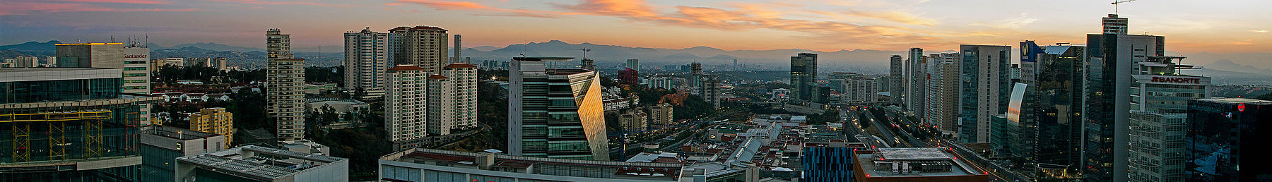 Santa Fe is one of the centers of greatest economic activity in the city. Santa Fe Mexico City Wikivoyage banner.jpg