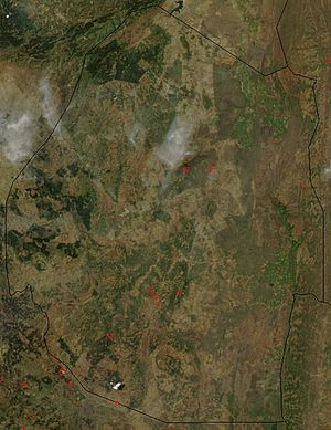 Outline of Swaziland - An enlargeable satellite image of Swaziland