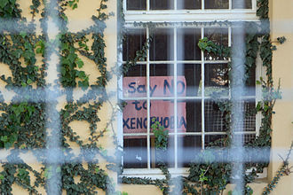 Xenophobia in South Africa - Anti-xenophobia poster, Harold Cressy High School, Cape Town 2014
