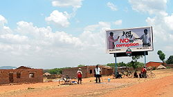 "A billboard in Zambia exhorting the public to ""Just say no to corruption""."