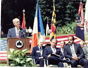 "William Donald Schaefer - Schaefer at the unveiling of a Monument dedicated to the ""Maryland 400"", Prospect Park, August 27, 1991."