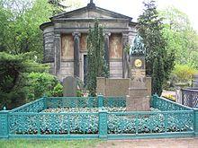 Grabstätte der Familie Hitzig, im Vordergrund das Grab von Karl Friedrich Schinkel (Quelle: Wikimedia)