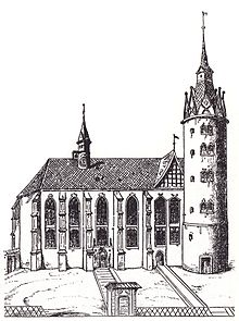 Wittenberg Castle Church after a woodcut by Lucas Cranach the Elder (1509)  sc 1 st  Wikipedia & All Saintsu0027 Church Wittenberg - Wikipedia