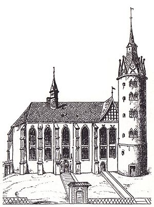 All Saints' Church, Wittenberg - Wittenberg Castle Church, after a woodcut by Lucas Cranach the Elder (1509)