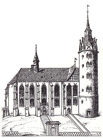 All Saints' Church, Wittenberg - Wittenberg Castle Church, after a woodcut by Lucas Cranach the Elder (1509)
