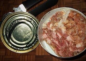Head cheese - German Schwartenmagen in a tin as it is sold as a type of hausmacher-Wurst