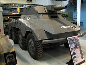 116th Panzer Division (Wehrmacht) - German SdKfz 234/3 armored car at The Tank Museum, Bovington. This vehicle bears the insignia of the 116th Panzer Division.