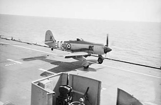 808 Naval Air Squadron - Sea Fury of 808 Squadron landing on HMAS Sydneyduring the Korean War