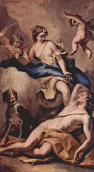 Endymion (mythology) - Selene and Endymion, by Sebastiano Ricci (1713), Chiswick House, England.