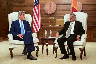 Ranil Wickremesinghe - Prime Minister Wickremasinghe with U.S. Secretary of State John Kerry