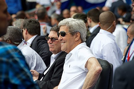 Secretary Kerry and Cuban Foreign Minister Rodriguez Watch Exhibition Game at Estadio Latinoamericano in Havana, Cuba (25698454600).jpg