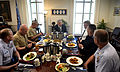 Secretary of Defense Chuck Hagel, center, hosts a lunch for the Senior Enlisted Advisors of each service and the Chairman of the Joint Chiefs of Staff in his Pentagon office on May 2, 2013 130502-D-NI589-212.jpg