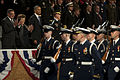 Secretary of Defense Leon E. Panetta, left, Sylvia Panetta, second from left, President Barack Obama, center, and Chairman of the Joint Chiefs of Staff Gen. Martin E. Dempsey, right, applaud and watch the pass 130208-D-BW835-528.jpg