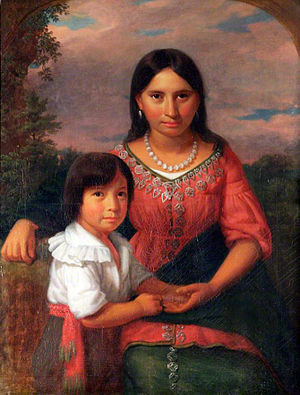 Osceola - Sedgeford Hall Portrait, painting possibly depicting Osceola's wife (formerly thought to be Pocahontas) and son