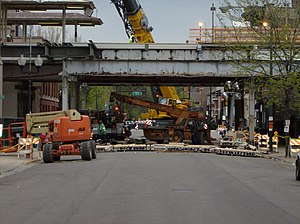 Sedgwick station (CTA) - The station under construction in 2007