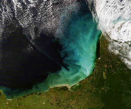 The swirls of tan, green, blue, and white are sediment in the shallow waters of the Gulf of Mexico off the Yucatan Peninsula. The blue-green cloud in this image roughly matches the extent of the shallow continental shelf west of the peninsula. This is a perfect example of a shallow marine depositional environment. Sediment off the Yucatan Peninsula.jpg