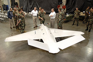 SEAL Team Six - Secretary of the Navy, Dr. Donald C. Winter is briefed on the Sentry HP UAV at Dam Neck, 2007.