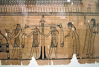 Book of the Dead - The Weighing of the Heart ritual, shown in the Book of the Dead of Sesostris