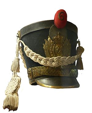 Pom-pom - Shako dating from the Bourbon Restoration with a red company pompon