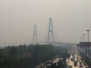 Shanghai Outer Ring Expressway - Image: Shanghai, bridge in the smog