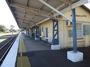 Shorncliffe railway station - Westbound view from the platform in July 2012