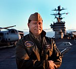 Shot of US Navy Capt. David L. Logsdon on the flight deck of the nuclear powered aircraft carrier USS Harry S. Truman (CVN 75).jpg