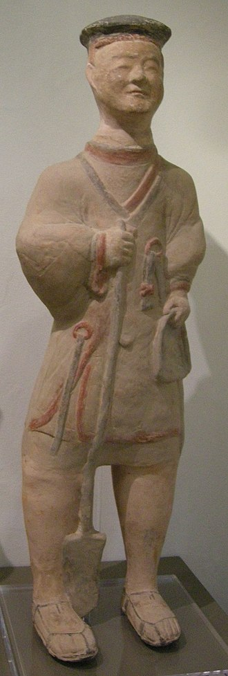 End of the Han dynasty - An Eastern Han pottery figurine of a farmer, latter half of the 2nd century AD