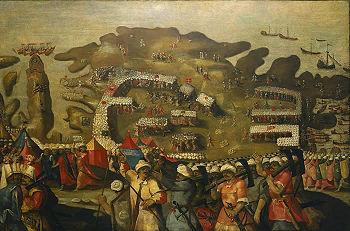 Matteo Perez d'Aleccio: Belagerung von Malta – die Osmanische Flotte erreicht Malta