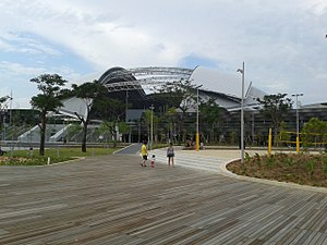 Singapore Sports Hub - The National Stadium  from the Sports Hub Boardwalk