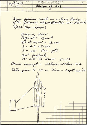 Kelly Johnson (engineer) - Design of Lockheed A-3 (Mach 3 ramjet), sketch from Johnson's notebook