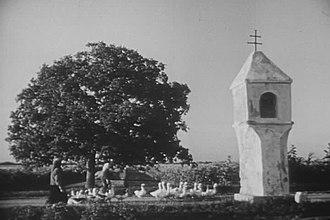 Wayside shrine - Wayside shrine interwar Ohrady, Czechoslovakia.