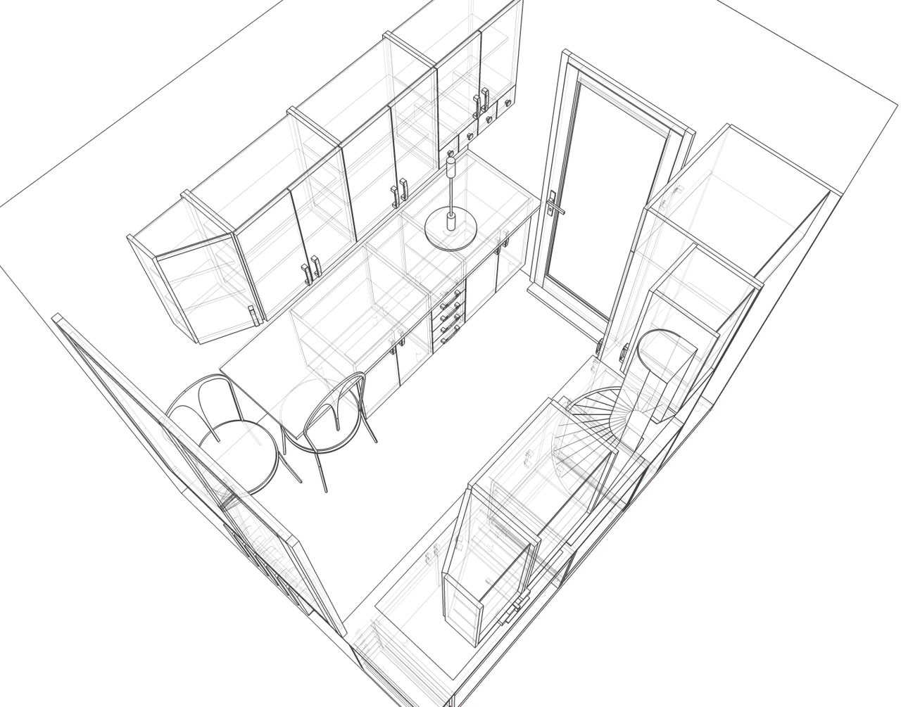 Kitchen perspective drawing - File Small Kitchen 2 Perspective Sketch Png