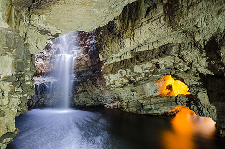 second chamber of the Smoo Cave, Durness in Sutherland, Highland, Scotland