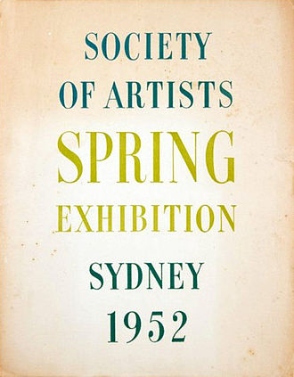 Society of Artists (Australia) - Catalogue cover for the Society's 1952 exhibition.