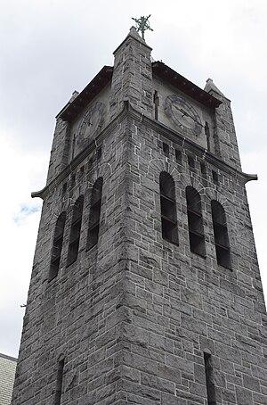 First Unitarian Church (Somerville, Massachusetts) - Image: Somerville MA First Unitarian Church tower