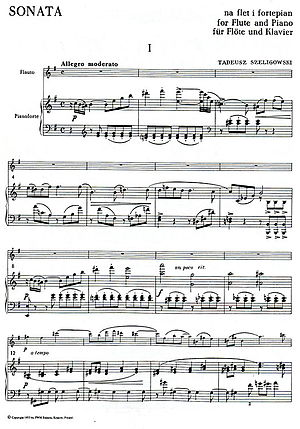 English: Musical score of Sonata for flute and...