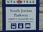 South Jordan Parkway station street sign, Apr 16.jpg