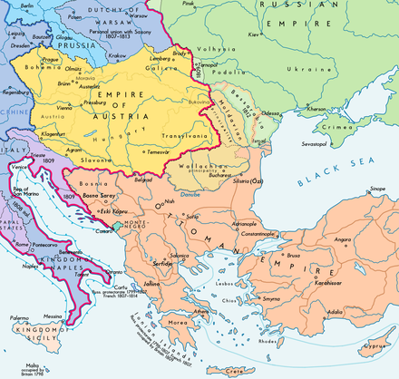 Southeast Europe after the Treaty of Bucharest Southeast Europe 1812 map en.PNG