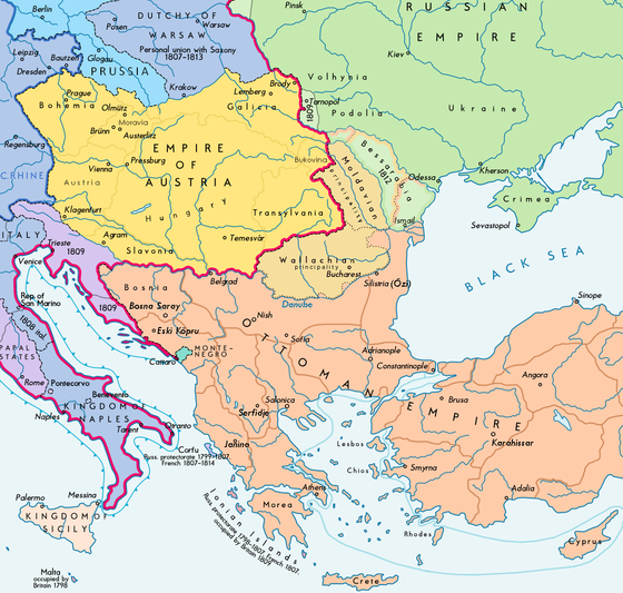 Southeast Europe after the treaty, Bassarabia shown in light green Southeast Europe 1812 map en.PNG