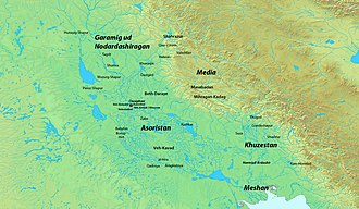 Hormuzan - Map of Sasanian Mesopotamia and its surroundings.
