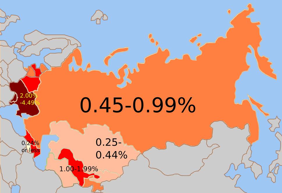 Soviet Jewish % 1959