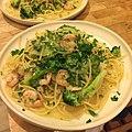 Spaghetti with shrimp and broccoli in a lemon garlic sauce with lots of homegrown Italian parsley 自家栽培のイタリアンパセリをたっぷり散らしたエビとブロッコリーのスパゲティ.jpg