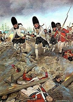 Un primer plano de los soldados cargando hacia el espectador, tropas españolas blancas y negras de Nueva Orleans, en su ataque capturando Pensacola de los británicos
