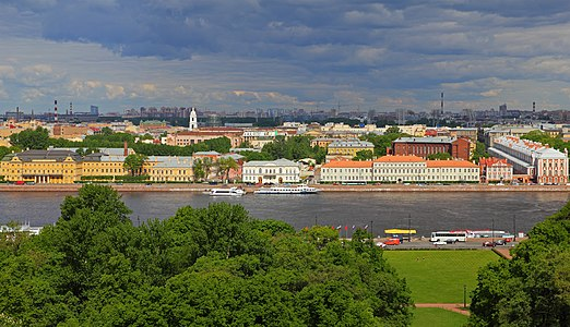 University Embankment in Saint Petersburg, Russia - view from St. Isaac's Cathedral.