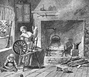 Women in the American Revolution - Spinning in the colonial kitchen