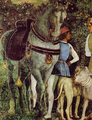 Detail of the frescoes in the Camera degli Sposi in the Palazzo Ducale in Mantua