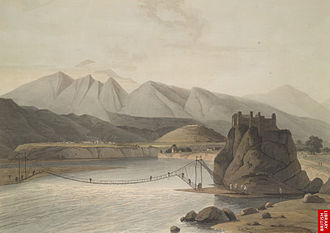 Srinagar, Uttarakhand - Rope bridge across Alaknanda River, Srinagar, in the times of Garhwal Kingdom, 1784–94