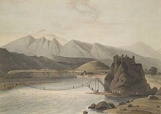 Srinagar, Uttarakhand - Rope bridge across Alaknanda River, Srinagar, in the times of Garhwal Kingdom, 1784-94